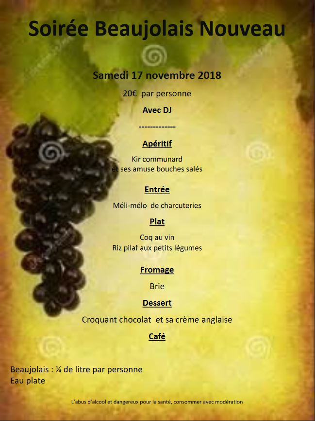 Menu Soirée Beaujolais 2018 à Breuillet